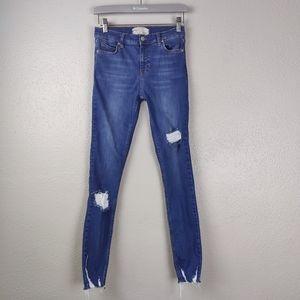 Free People Skinny 'Sharkbite' Style Jeans 25L